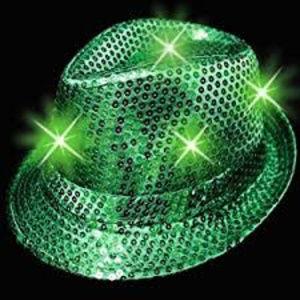 NWT Sequin Green Light up Fedora Hat